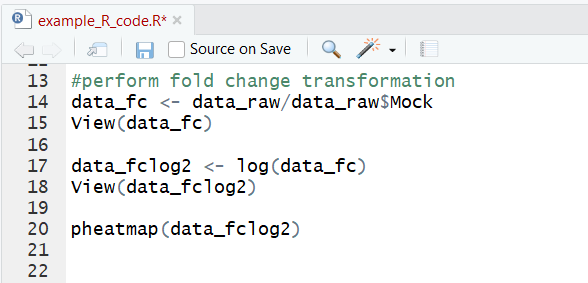 R code for generating fold-change heatmap