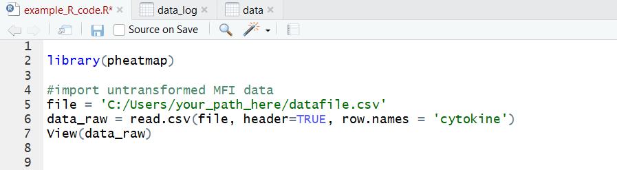 R code for importing biological dataset